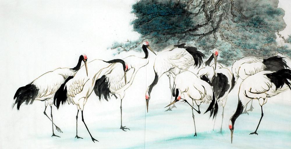 Chinese Crane Painting