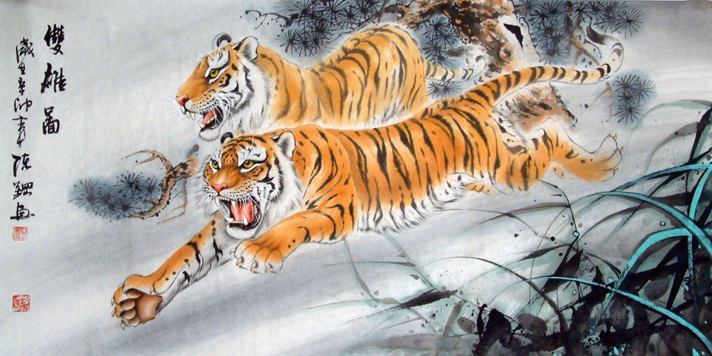 Two Tigers--Chinese Painting