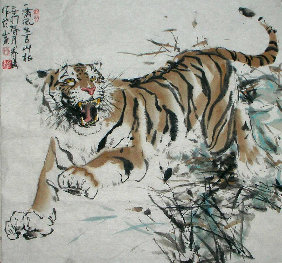Ancient chinese tiger drawing - photo#17