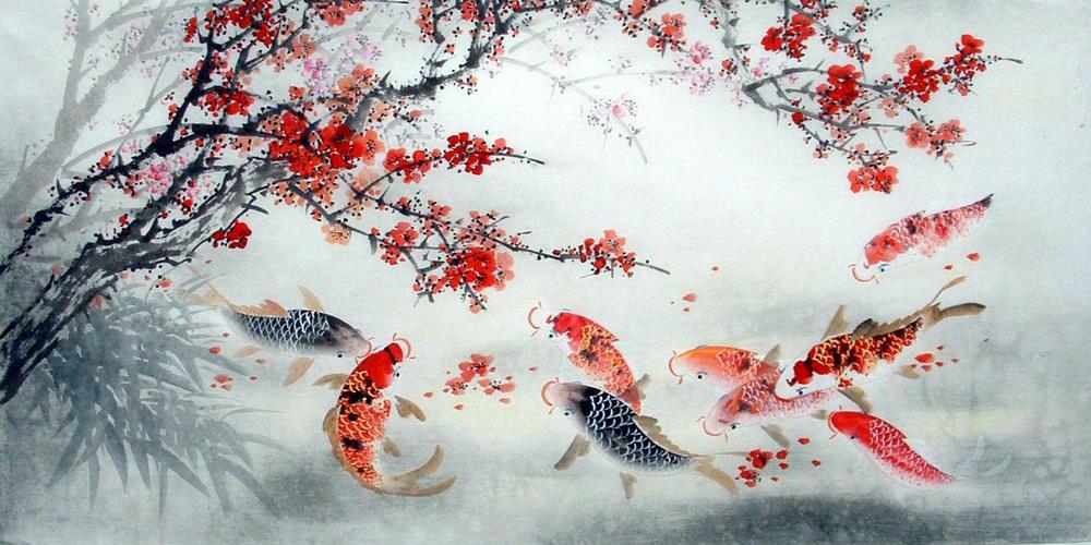 Chinese Painting: Fish - Chinese Painting CNAG235107 - Artisoo.com