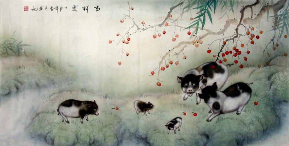 Chinese Animals-Pig Painting