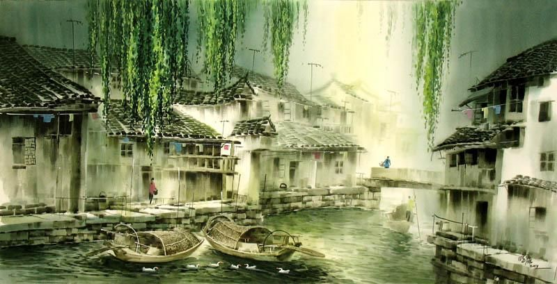 Chinese Water Township Painting