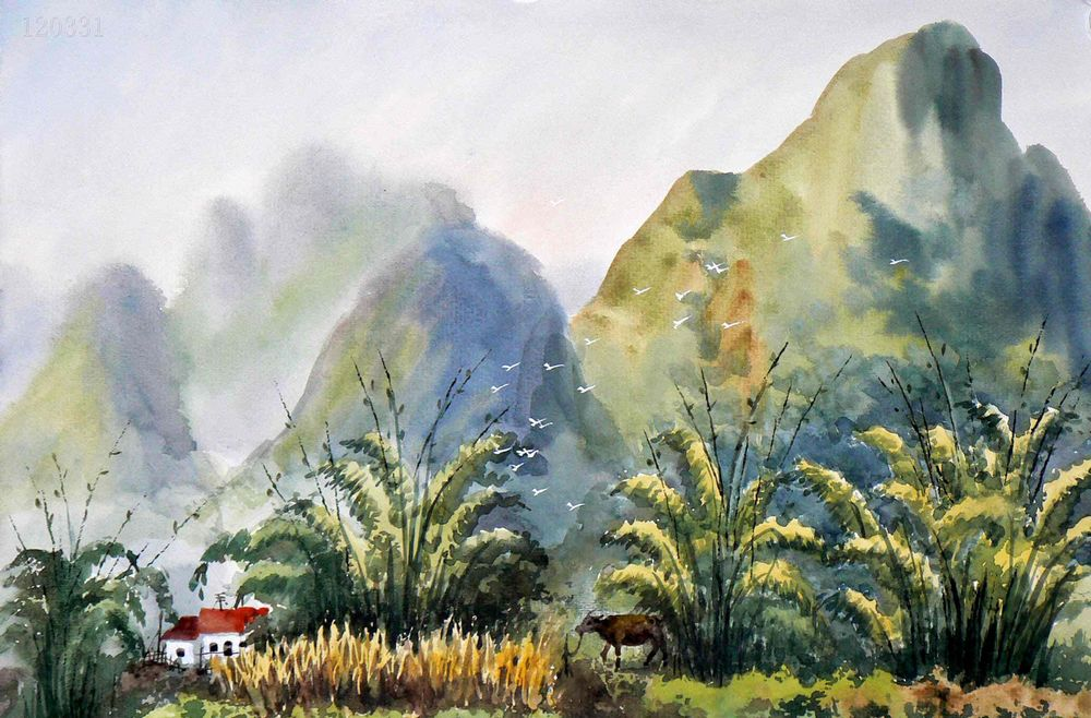 Chinese Painting: Mountains, trees, watercolor - Chinese ...