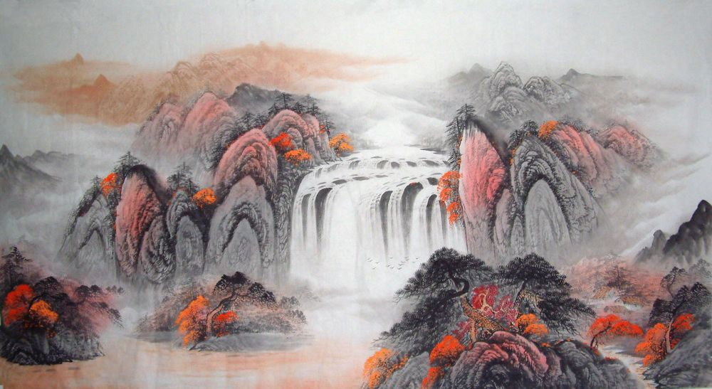 Chinese Waterfall Painting