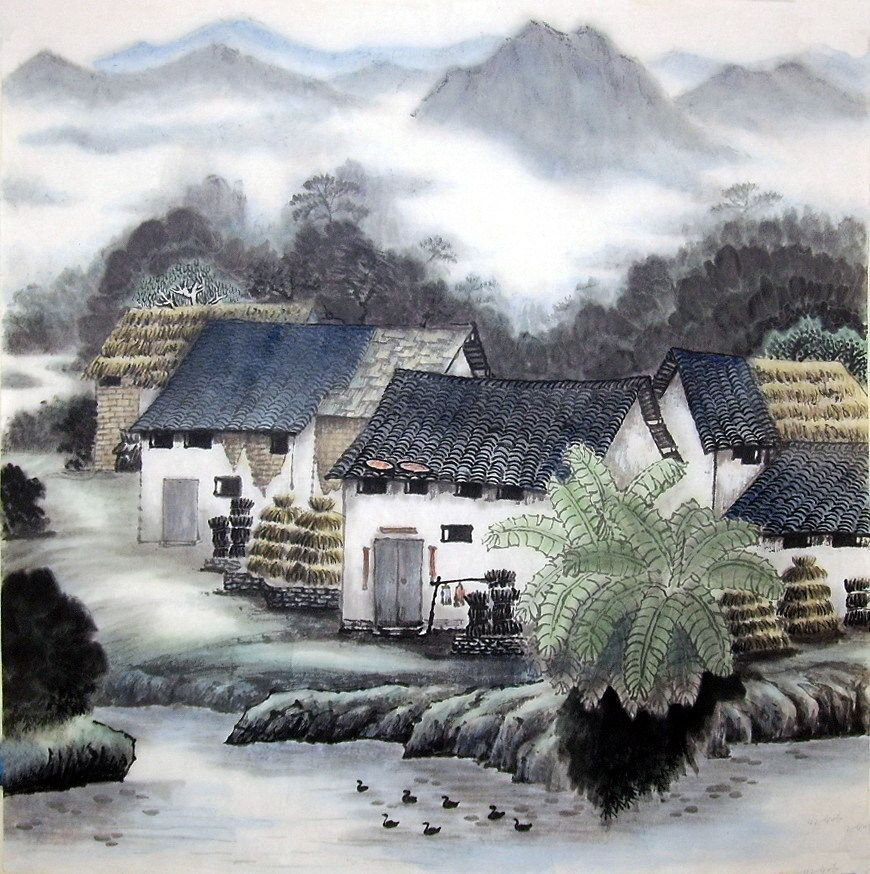 Chinese Painting A Small Village Chinese Painting Cnag221757 Artisoo Com