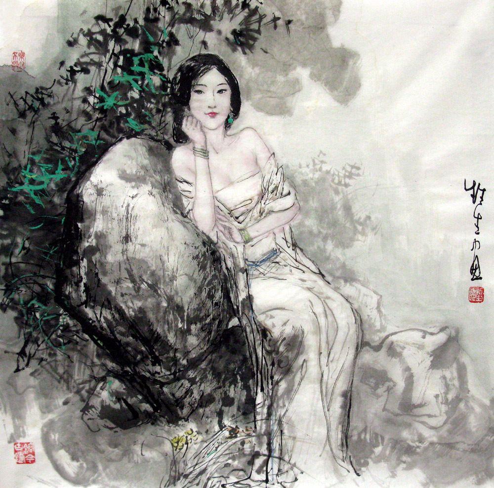 Chinese Painting: Beautiful Lady - Chinese Painting CNAG241753 ...