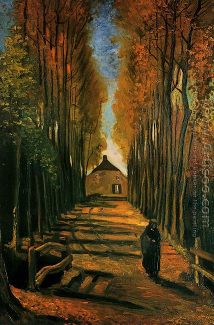 Avenue Of Poplars In Autumn