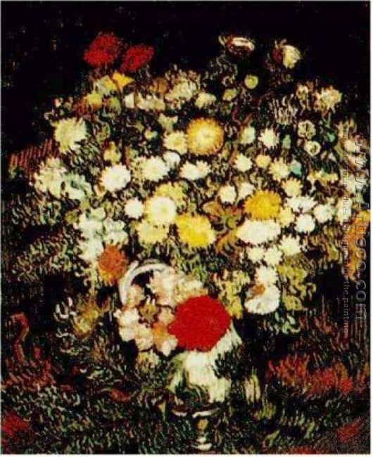 Chrysanthemums And Wild Flowers In A Vase