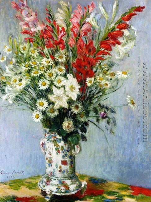 Bouquet Of Gadiolas Lilies And Dasies