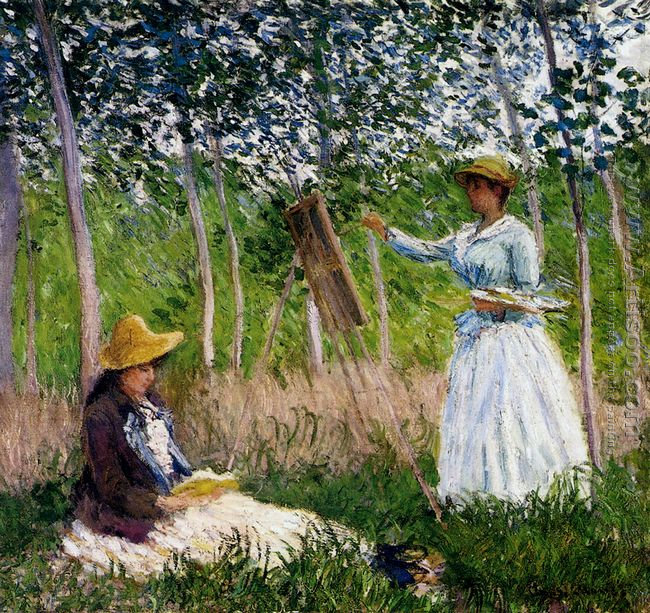 In The Woods At Giverny - BlancheHoschede Monet At Her Easel Wit
