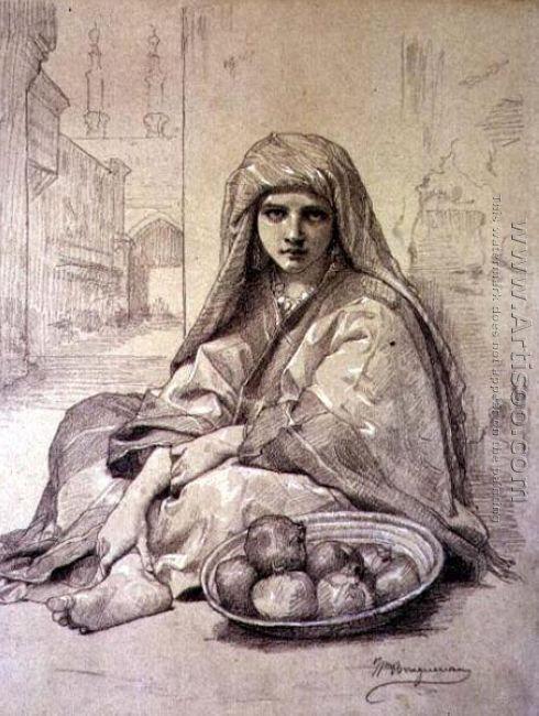 Algerian Girl Selling Pomegranates