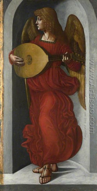 An Angel in Red with a Lute