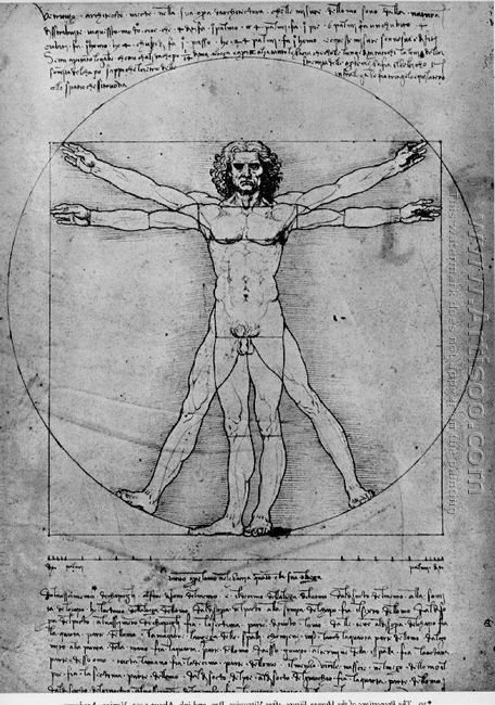 Vitruvian Man, Study of proportions, from Vitruvius's De Archit