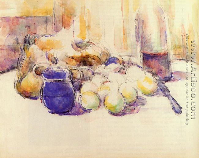 Blue Pot And Bottle Of Wine Aka Still Life With Pears And Apples