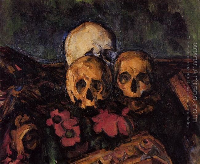 Three Skulls On A Patterned Carpet