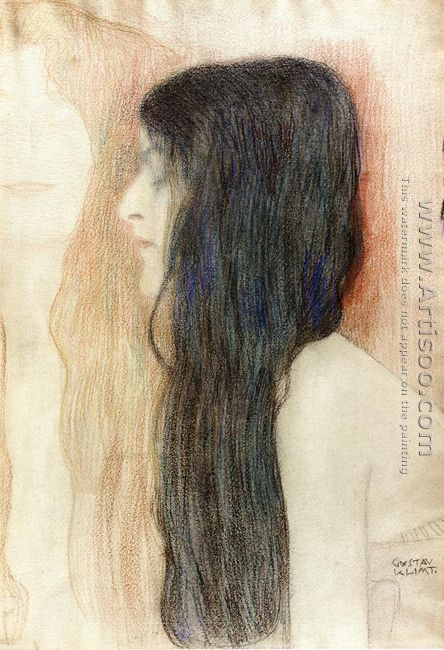 Girl with Long Hair, with a sketch for 'Nude Veritas