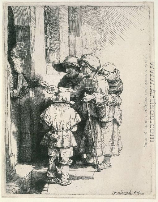 Beggars Receiving Alms at the Door of a House 1648
