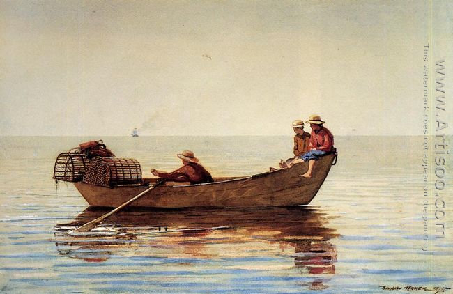 Three Boys in a Dory with Lobster Pots
