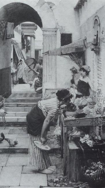 A Flower Market, Old Rome 1886