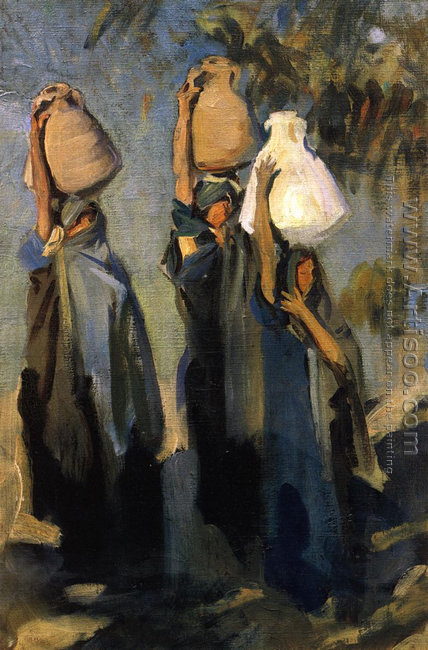 Bedouin Women Carrying Water Jars