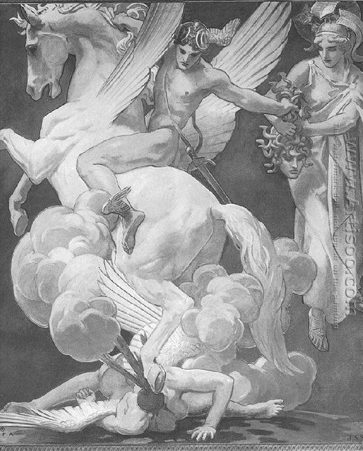 Perseus on Pegasus Slaying Medusa