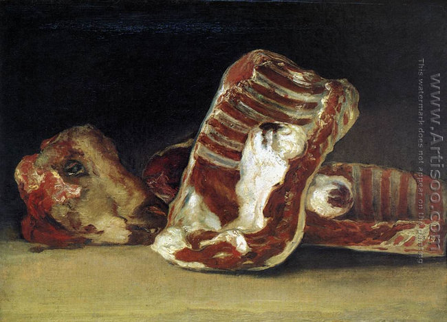 Still life with sheep's head