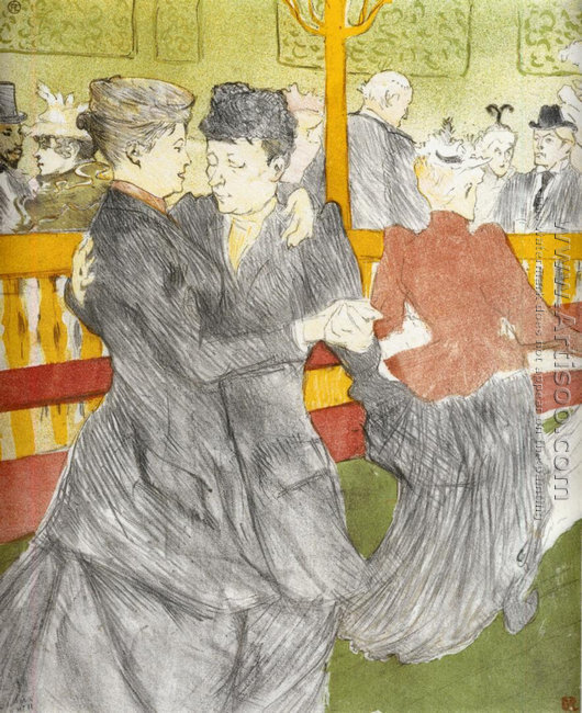 Two Women Dancing At The Moulin Rouge
