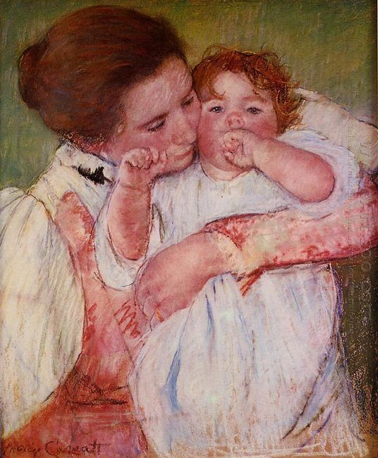 Little Ann Sucking Her Finger Embraced By Her Mother