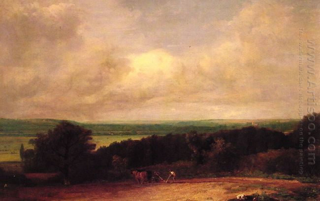 landscape ploughing scene in suffolk 1814