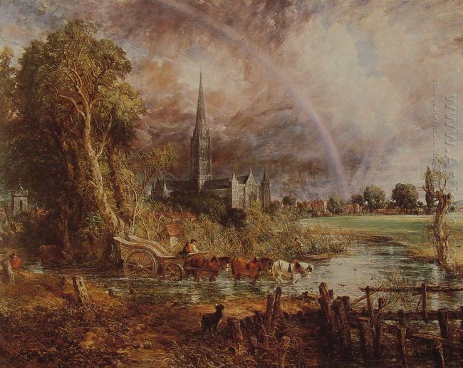 salisbury cathedral from the meadows 1831