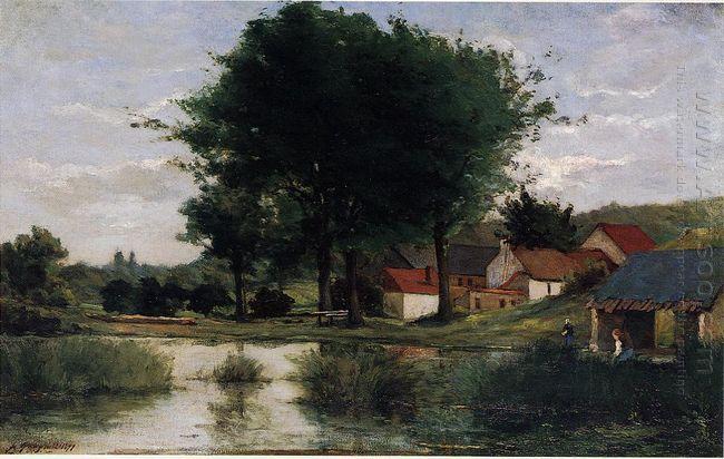 autumn landscape farm and pond 1877