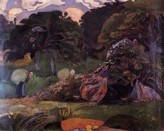 brittany landscape with women carrying sack 1889