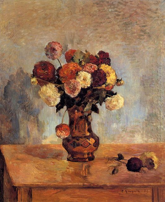 dahlias in a copper vase 1885
