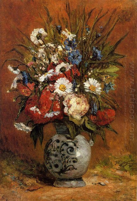 daisies and peonies in blue vase 1876
