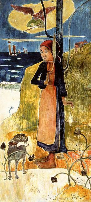 jeanne d arc or breton girl spinning 1889