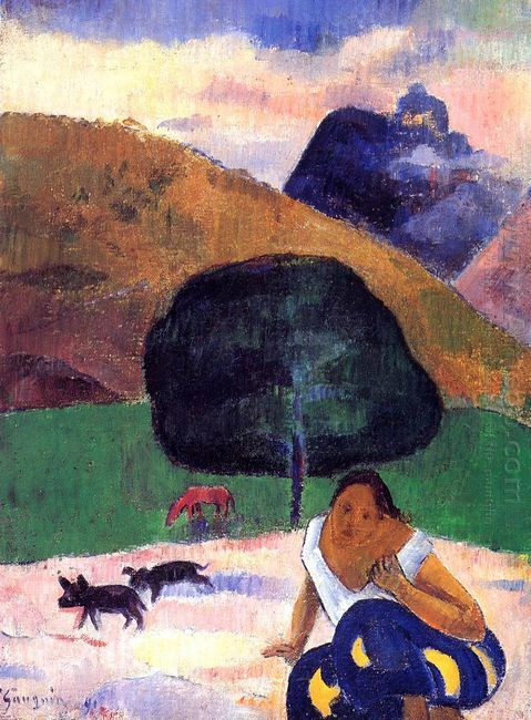 landscape with black pigs and a crouching tahitian 1891