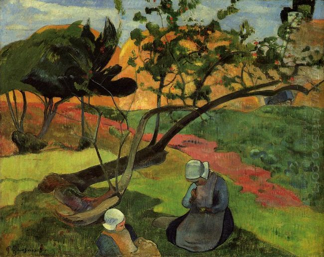 landscape with two breton women 1889