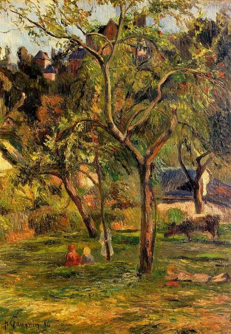 orchard under the church of bihorel children in the pasture 1884