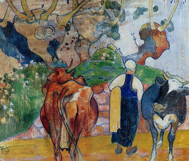 peasant woman and cows in a landscape 1890