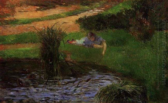 pond with ducks girl amusing herself 1881
