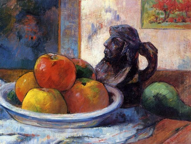 still life with apples a pear and a ceramic portrait jug 1889 oi