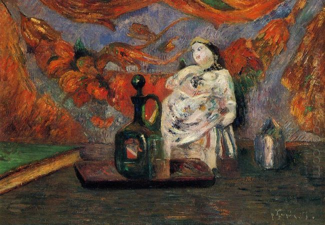 still life with carafe and ceramic figure 1885