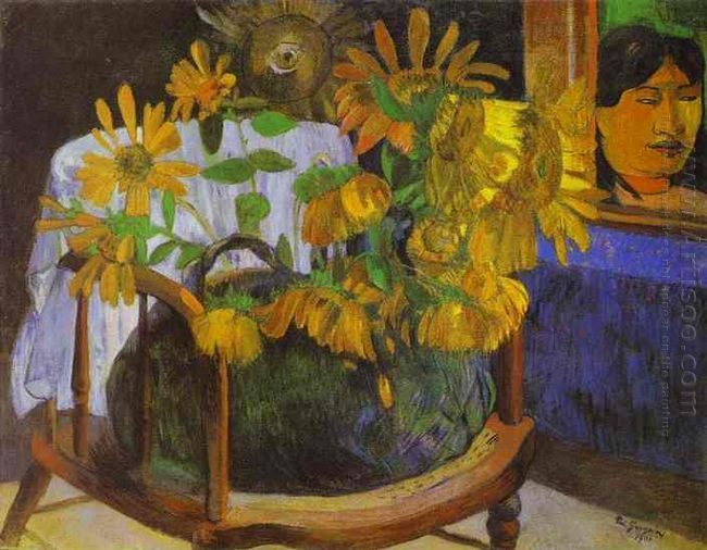 still life with sunflowers on an armchair 1901