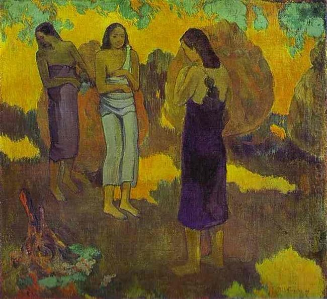 three tahitian women against a yellow background 1899 oil on can
