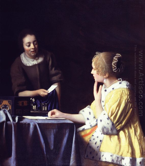 mistress and maid lady with her maidservant holding a letter