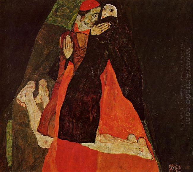 cardinal and nun caress 1912