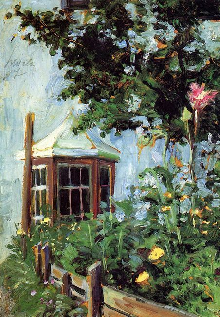 house with a bay window in the garden 1907