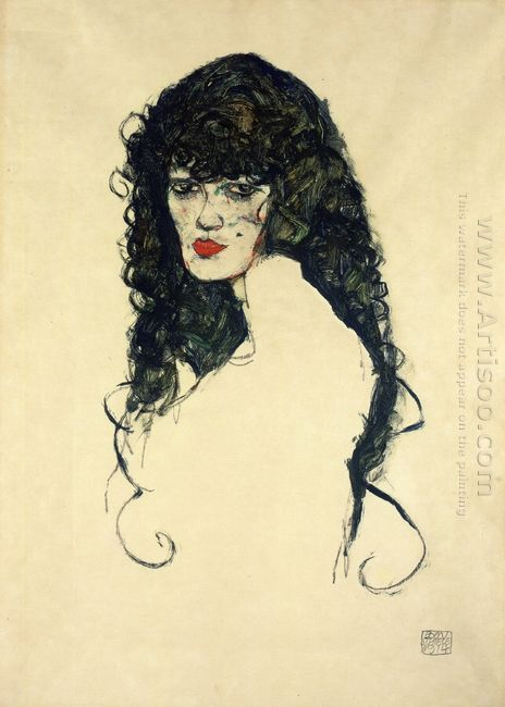 portrait of a woman with black hair 1914