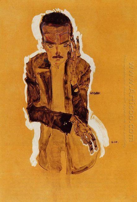 portrait of eduard kosmack with raised left hand 1910