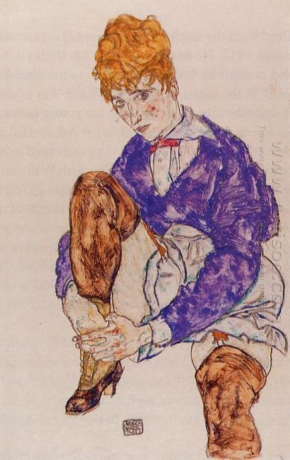 portrait of the artist s wife seated holding her right leg 1917